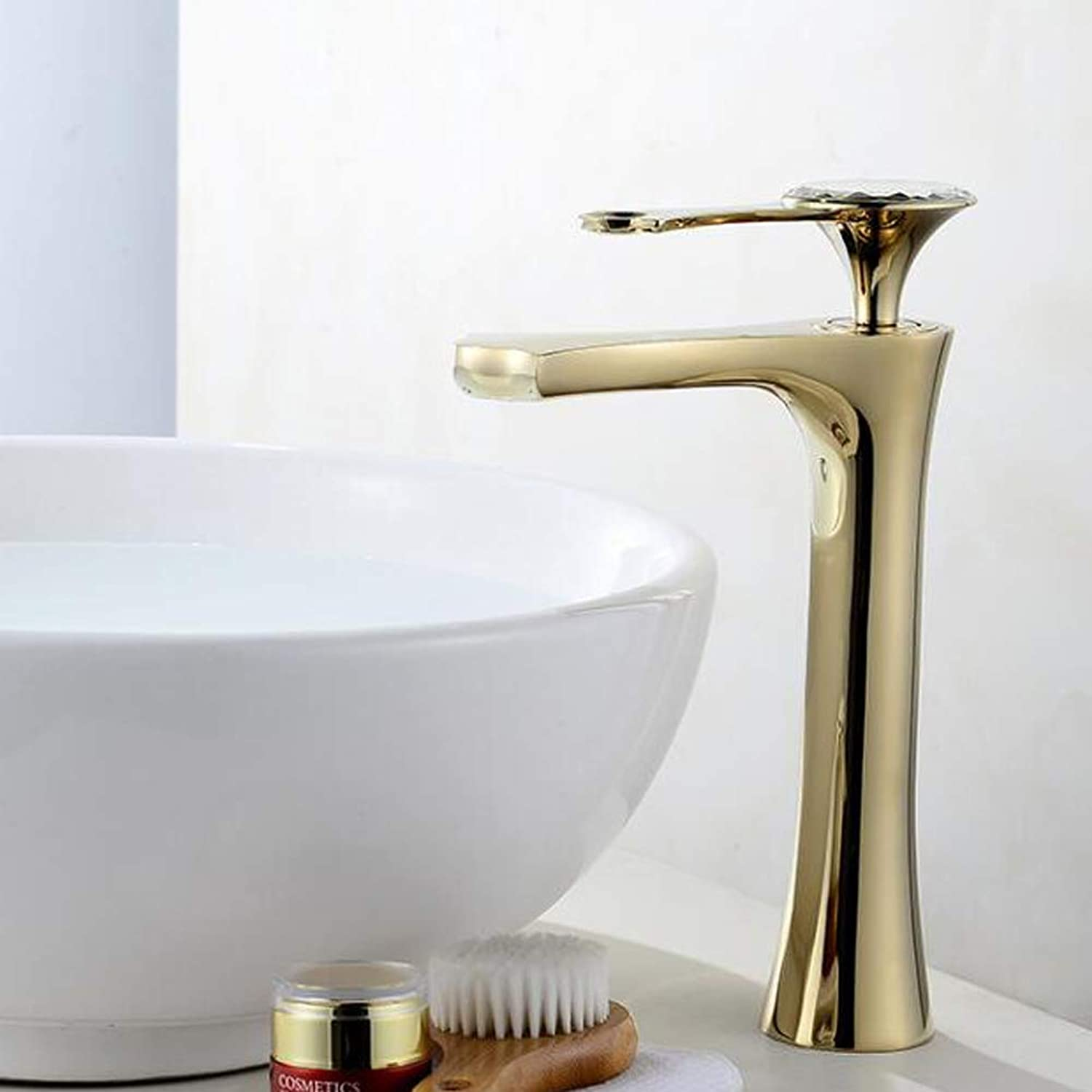 European Style gold-plated Above Counter Basin Mixer Tap all Brass Bathroom Sink Hot Cold Taps,goldFaucet