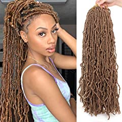 Hair Material: 100% low temperature fiber synthetic hair, can be restyled with hot water. Package: 6 packs of locs with free gifts, 21strands/pack, and 24 inch, normally 6-7packs can make a full head. Easy to Install: Hand-made, natural texture, indi...