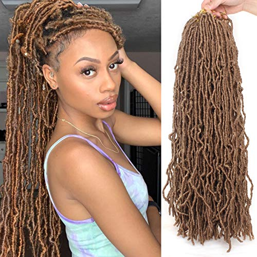 24 Inch 6 Packs Nu Faux Locs Crochet Hair 21 Strands Pre-Looped Synthetic Crochet Twist Braiding Hair Goddess Curly Wavy Crochet Braids Hair for Women African Roots #27