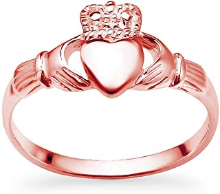 925 Sterling Silver Irish Claddagh Crown Love Heart Band | Celtic Friendship Promise Ring Sizes 5 to 14