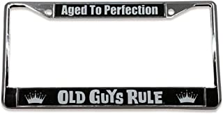 OLD GUYS RULE License Plate Frame   Aged to Perfection   Custom Holder for Your Car   Chrome Metal Cover   Pre-Drilled Mounting Holes