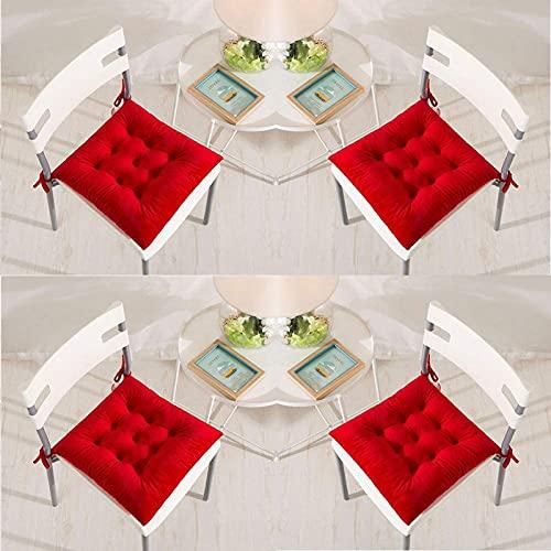 Set di 4 Cuscinetti Sedia 40 X 40 Cm Cuscini di Seduta con Cravatte in Velluto Morbido Cuscini Quadrati Comodo, per Sedie da Pranzo Cucina Soggiorno Patio Giardino Indoor All'aperto, Bordeaux,Rosso