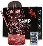 Lámpara 3D de ilusión óptica 3D de la noche de Star Wars Darth Vader de 16 colores que cambian de estado de ánimo de la lámpara de escritorio de la mesa de la lámpara de los niños regalo