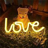 Mortime Love Neon Light Signs Crochets muraux fantaisie néon Panneau LED Décoration pour chambre d'enfant Décoration murale Dorm Décoration de nuit Moderne blanc chaud