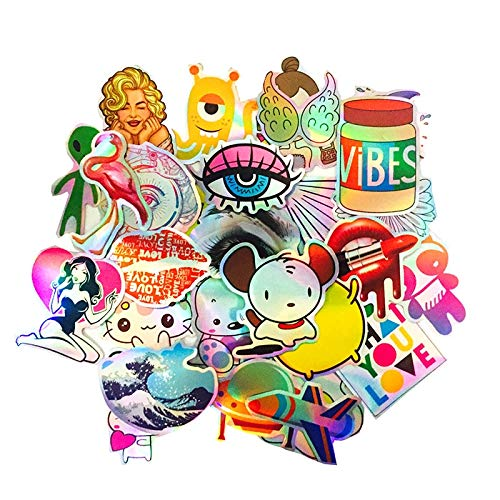 Cartoon Colourful Reflection Laser Sticker Cute Style Waterproof Snowboard Luggage Laptop Motorcycle Suitcase Sticker 28 Pcs