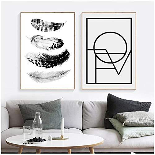 HHONG Lienzo Minimalista, póster con Cita, póster de Plumas artísticas en Blanco y Negro, y póster de Pared para Sala de Fotos, 30x40 cm / 11,8'x 15,7' x2 sin Marco