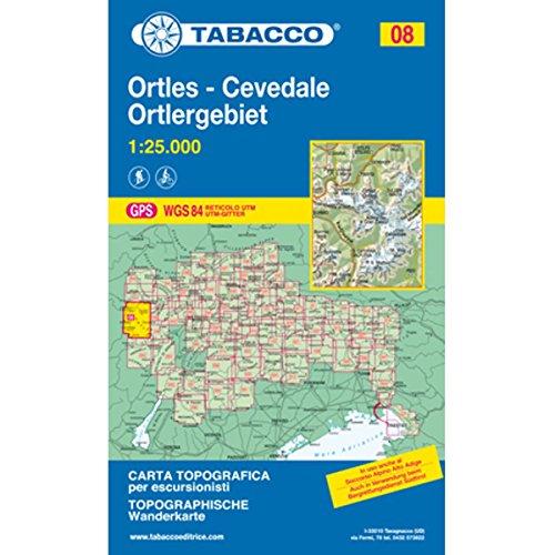 Ortlergebiet: Wanderkarte Tabacco 08. 1:25000 (CARTES TOPOGRAHIQ - 1/25.000)