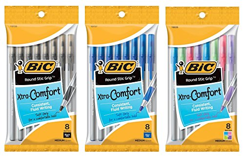 BIC Round Stic Grip Xtra Comfort Soft Grip Ballpoint Pen, Medium Point (1.2 mm) Bundle - Black Ink (8 count), Blue Ink (8 count), and Assorted Fashion Colors (8 count)