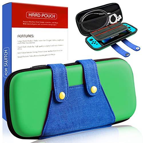 Funda para Switch, [Color-Clash Look][Estuche Protección] Luigi Funda de Viaje Portátil Transportar para Switch y Accesorios- Verde