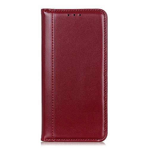 Funda para Alcatel 1L 2021 PU Cuero Folio Carcasa [Magnético] [Soporte Plegable] [Ranuras para Tarjetas] Premium Cierre Flip Carcasa para Alcatel 1L 2021 Teléfono Móvil (Rojo)