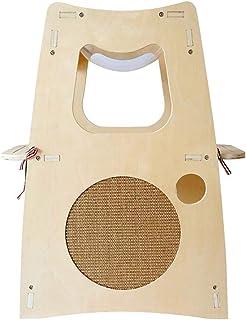 JEELINBORE Esquina Rascadores para Gatos C/áscara Camas Alfombras Rascador con Hierba gatera Juguetes interactivos Pelota Forma de Sector, 63x46x36cm
