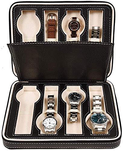 Suytan Caja de Reloj Reloj Hombre Cadena de Reloj Caja de Alenamiento de Casete 8 Escaparate de Joyería de Granada Caja de Reloj Marrón Tapa de Cristal,Negro-24X18X6Cm
