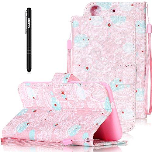 Slynmax Leder Tasche Schutzhülle für HTC Desire 626G 5 Zoll Hülle Flip Wallet Hülle Hand Strap Lanyard Brieftasche Lederhülle Ledertasche Handyhülle Klapphülle Cover(Elephant,Pink)