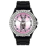 Timest - Gato Azul Ruso Reloj de Silicona Negro para Mujer con piedrecillas Analógico Cuarzo SG1979