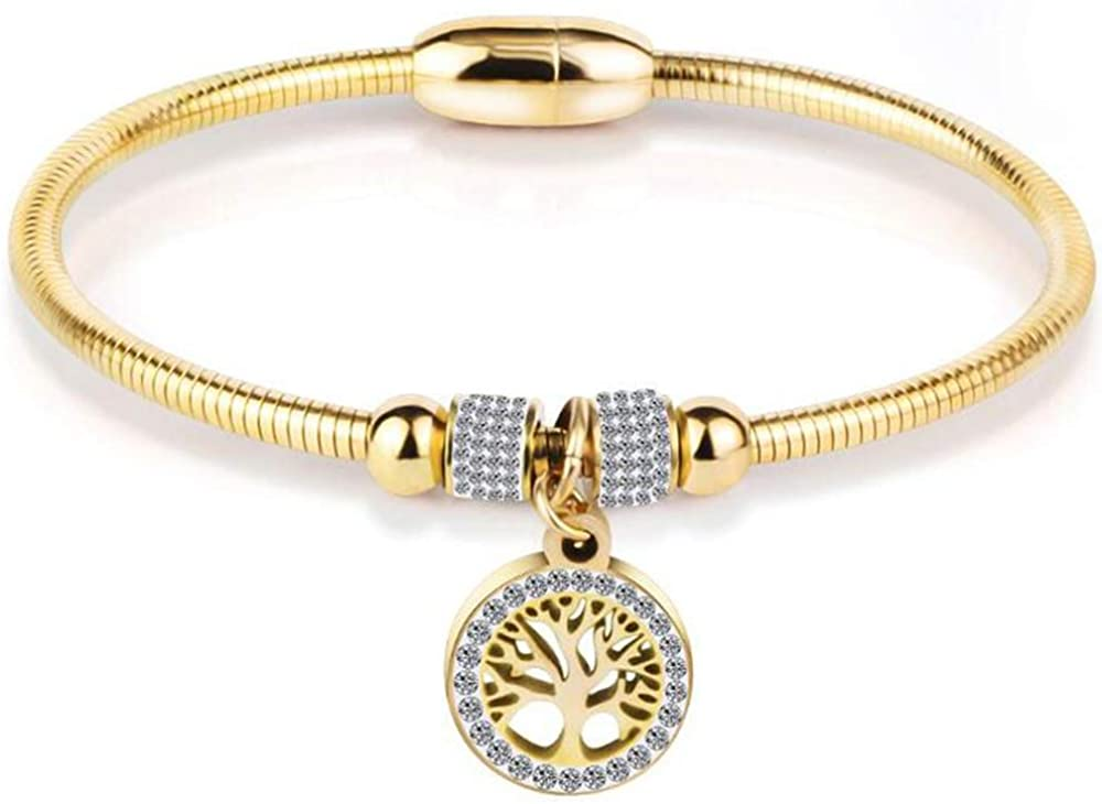 Jude Jewelers Stainless Steel Magnetic Tree of Life Charm Bangle Bracelet Cocktail Party