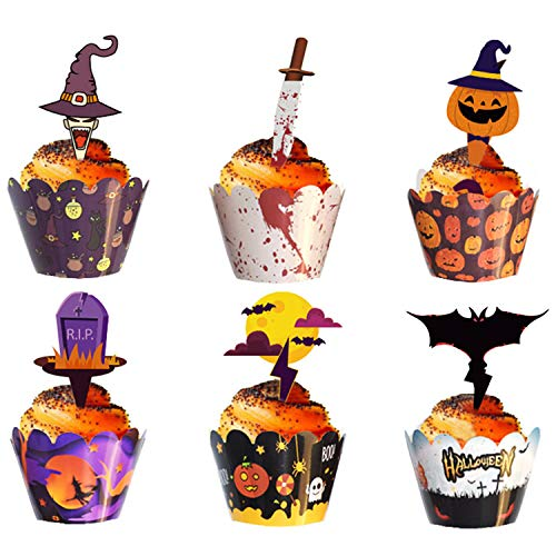 WELLXUNK Decorazioni per Cupcake di Halloween, Cupcake Toppers per Halloween, Involucri per Torte per, Involucri e Topper per Cupcake, Decorazione di Halloween, Decorazione della Torta (48 Pezzi)