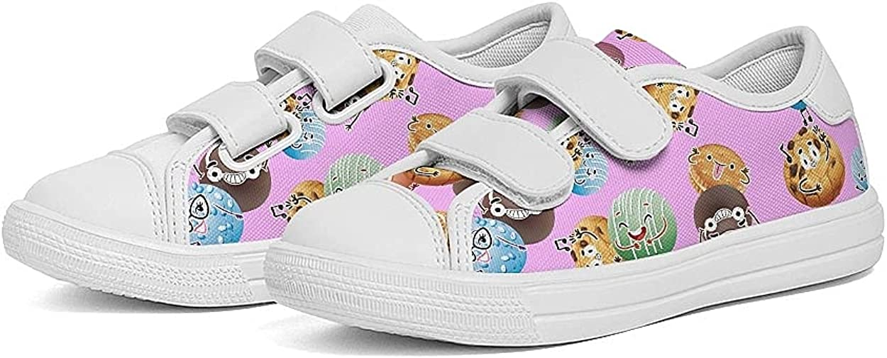Toddler Boys Girls Slip On Canvas Sneakers Shoes Kids Canvas Sneakers with Cartoon Dual Hook and Loops