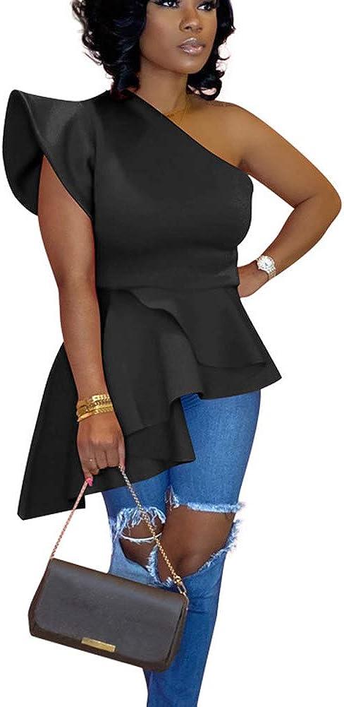 OLUOLIN Women Sexy One Shoulder Sleevelesse Bodycon High Low Asymmetrical Ruffle Pelplum Tunics Blouse Shirt Top