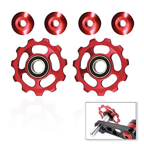 11T Red Bike Derailleur Pulley, Aluminum Alloy Jockey Mountain Bike Wheel Rear Derailleur Pulley (2 PCS)