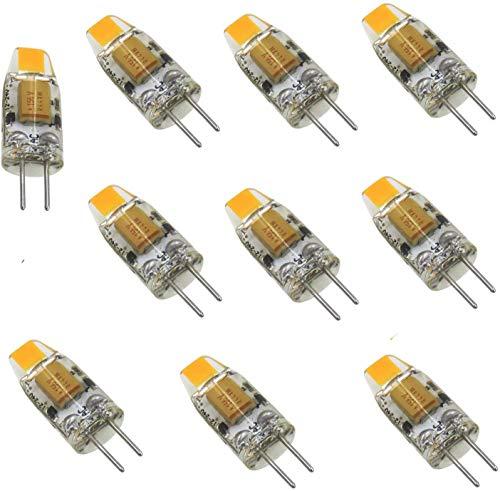 AIYOWEI - Mini lampadina LED G4 a doppio pin 12 V-24 V DC 1 W 100 lumen COB 0705 SMD in silicone lampada lettura bianco caldo 3000 K(confezione da 10 pezzi)
