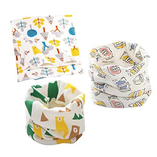 DEBAIJIA Sciarpa Scaldacollo in cotone per Bambini Neonati Infantili Multiuso Modo Cute Morbida e Calda Fazzoletto ad Anello Collare Cartone Animato Autunno Inverno 3 pezzi per 0-8 anni 40 * 20cm