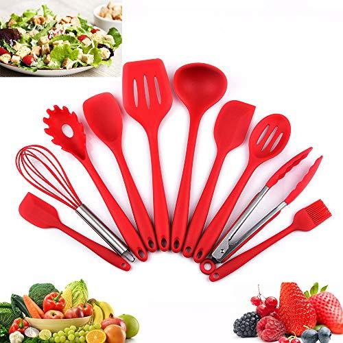 Utensilios Cocina de Silicona 10 Piezas, Juego de Cocina Resistente al Calor, pinzas, batidor Silicona, Cepillo, Espátulas,...