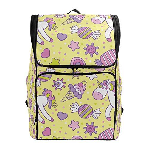 Emoya - Mochila escolar para niñas, diseño de unicornio, helado, caramelo, arcoíris, nube, piñones, corazones, círculos, adolescentes, escuela