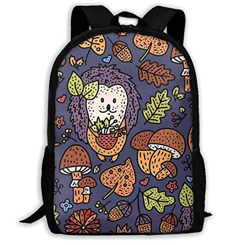 Hangdachang Comfortable Autumn Autumn Hedgehog Mushroon Maple Leaves Backpack School Bag Casual Travel Bag for Teenagers Boys Girls