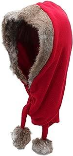 Men Women Fleece Hooded Scarf Hat Double Layers Warm Hoodie Hat