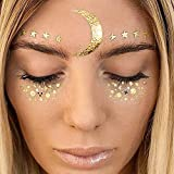 Face Tattoo Sticker Metallic Shiny Temporary Water Transfer Tattoo for Professional Make Up Dancer Costume Parties, Shows Gold Glitter