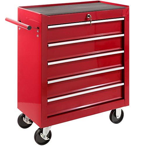 Arebos Werkstattwagen 5 Fächer/zentral abschließbar/Anti-Rutschbeschichtung/Räder mit Festellbremse/Massives Metall/rot, blau oder schwarz (rot) - 2