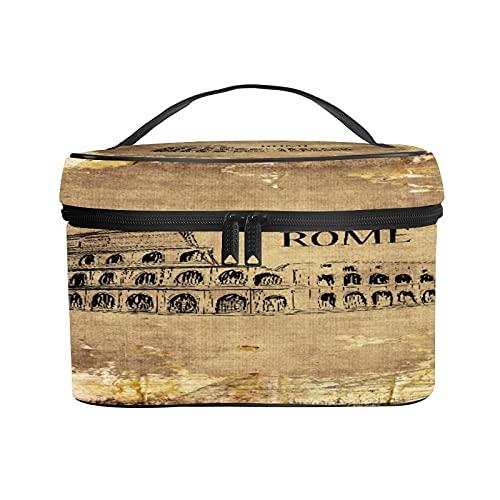 CIKYOWAY Trousse de Maquillage Portable,Colosseum Colonne Glade Ronde Rome Rétro,Portable pour Cosmétique Trousse/Organisateur/Sac de Toilette 25×18×15cm