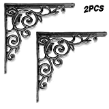 QYJX Soportes de estante de metal montados en la pared retro, soporte de esquina de ángulo recto victoriano de hierro fundido, soporte de esquina de soporte decorativo, 2 piezas 215 * 215 mm