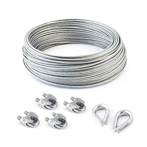 SET 20m câble acier galvanisé 6x7 6mm + 4 serre-câbles étrie et 2 cosse coeur