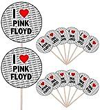 I Love Pink Floyd – Party-Essen – Kuchen Cupcakes – Picks Sticks – Lebensmittel-Flaggen – stehende Dekorationen (14 Stück)