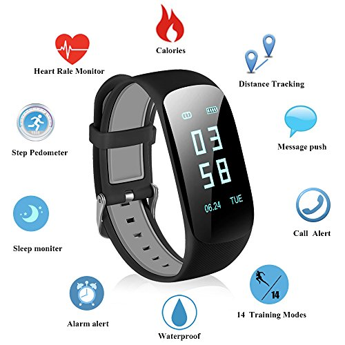 Fitness Bracelet, Abandship Activity Tracker Cardio Pedometer Heart Rate Monitor Fitness Tracker Watch Band Smartwatch for iPhone Samsung Android iOS Smartphones (Black)