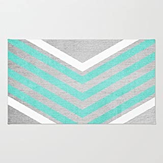 "Poppylife Teal and White Chevron on Silver Grey Wood Rug Bathroom Kitchen Entry Coral Fleece Doormats Capet 16"" x 24"""