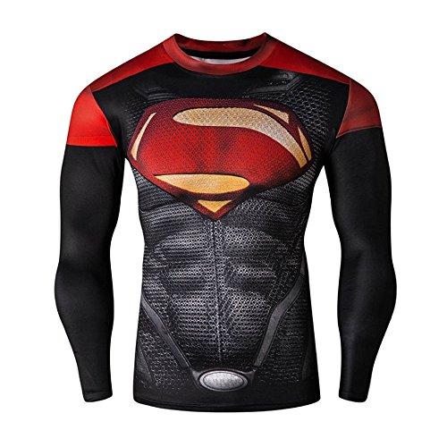 CT29 3D Druck Rot Style C Fest Kompression Langarm-Shirt Grundschicht für Sport Fashion (M, Superman C Long)