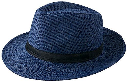 Miobo Sombrero de paja Panamahut Mountain Stroh sombrero de paja sombrero de verano azul oscuro 58...
