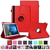 NAUC Schutzhülle für Archos Copper 101C Tablet Tasche Universal Hülle aus Kunstleder Standfunktion 360 Drehbar Cover Case, Farben:Rot