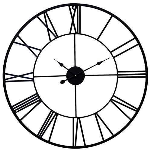 Reloj de Pared Grande 76 cm Metalico Silencioso Moderno Numeros Romanos Sala hogar Oficina Lobby Restaurante Color Negro Manecillas...