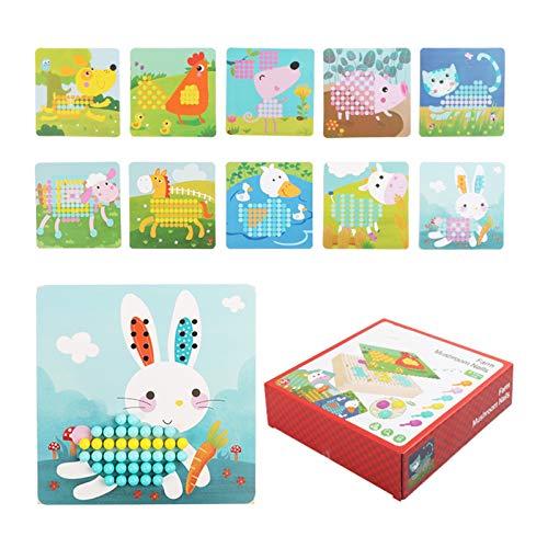 WFF Spielzeug Educational Mushroom Nails Puzzle Spielzeug mit 240 Nägeln, Kinder Puzzle-Spiel for 3-9 Jahre alt Jungen-Mädchen-Kind-Kleinkind-Spielzeug (Color : Farm)