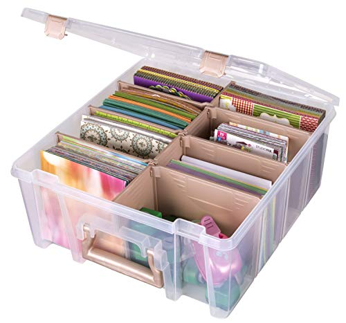 ArtBin 6990RK Super Satchel Double Deep, Portable Art & Craft Organizer with Handle, [1] Plastic Storage Case, Clear with Rose Accents, Clear & Rose Gold