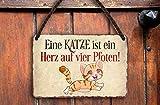 schilderkreis24 Targa in metallo divertente con scritta in lingua inglese 'Ein Gatto Zampen' in stile vintage, idea regalo divertente per compleanno, Natale per tutti i fan dei gatti, 18 x 12 cm