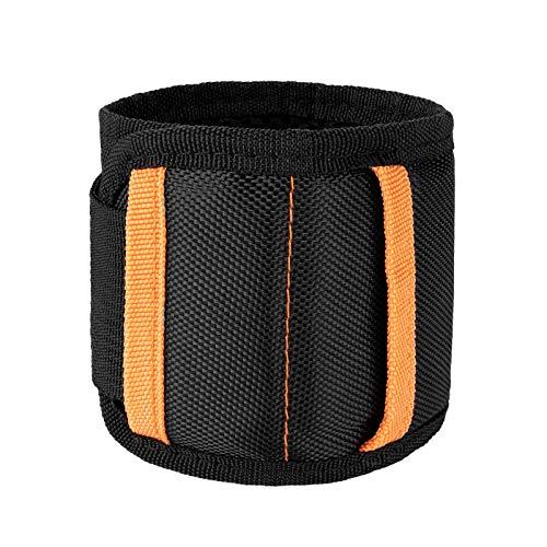 Pulsera Magnética Ajustable con 20 Súper Imanes y 2 bolsillos para tornillos de sujeción,ideas de regalos para el marido, papá, novio, Manitas(negro)