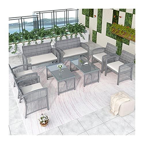 Conjuntos de muebles de patio Muebles de exterior Silla de ratán y mesa Set de patio Sofá al aire libre para jardín, patio, porche y junto a la piscina, 8 piezas de muebles de jardín conjuntos por CHE