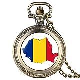 Reloj de bolsillo de cuarzo para hombre, diseño de mapa de Rumanía creativo, para mujer, de aleación duradera, para hombre