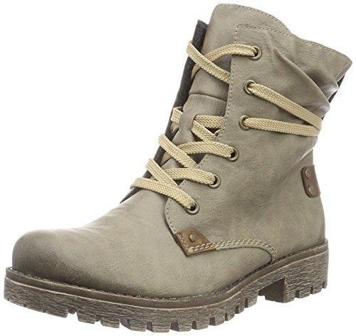 Rieker Damen Stiefel 78530, Frauen Schnürstiefel, Women's Women Woman Freizeit leger Boots Combat schnürung gefüttert,Kiesel/Mogano,41 EU / 7.5 UK