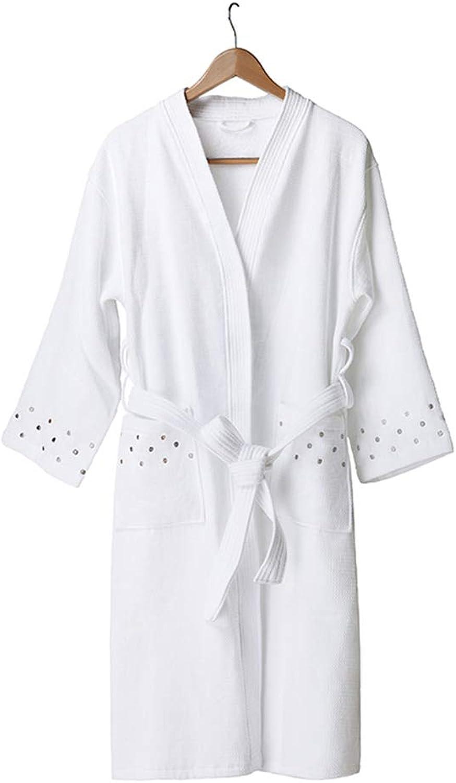 Bathrobe Embroidered Bathrobe Hotel Shawl Bath Towel Cotton Bathrobes Nightgown Pajamas   M Code   White