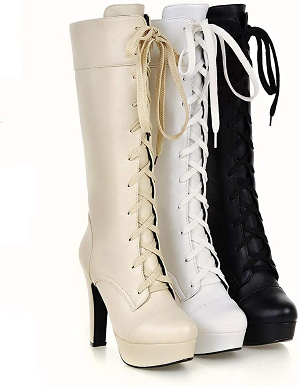 T-JULY Women's Mid Calf Boots for Women in Spring Autumn Winter High Heels Boots Fashion Contracted Platform shoes
